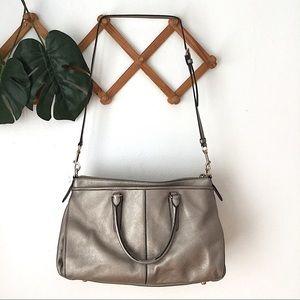 Coach Bags - Coach | Crossbody Satchel Leather Bag Metallic